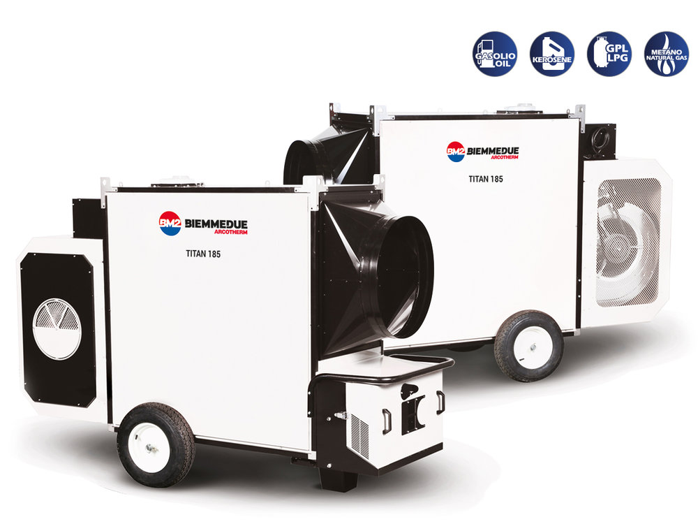 TITAN 185 M - INDIRECT COMBUSTION HEAVY DUTY MOBILE SPACE HEATERS WITH CENTRIFUGAL FAN FRONTVIEW